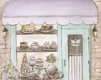 Personalized Girl Baby Shower Gift, Lavender And Teal Nursery Decor, Paris Wall Art, Choose Girl's Name For Patisserie, French Bakery Poster
