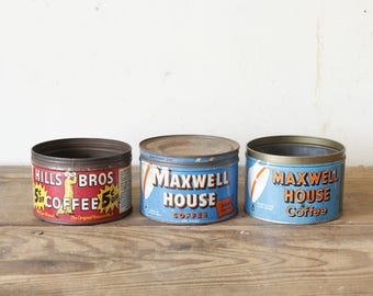 Three Vintage Tins Antique Coffee Tins Collectible Advertising Hills Bros Maxwell House Decorating Display