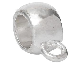 """Bail Round Silver Tone Smooth Fit European Bracelet- 2 pack- 11mm x 8mm( 3/8"""" x 3/8""""),Hole:Approx 5mm"""