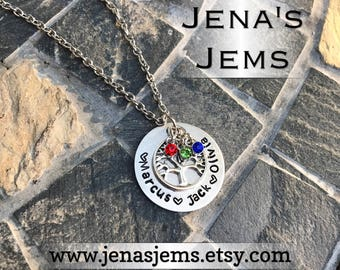 Hand Stamped Children Grandchildren names Tree of Life Birthstone Necklace with up to three names