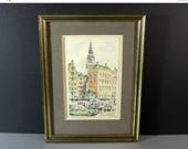 30% OFF SALE Signed Matted Framed Hand Colored Etching European Scene