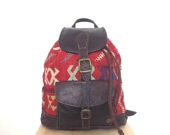 Vintage Leather Kilim Backpack // Woven Carpet Bag
