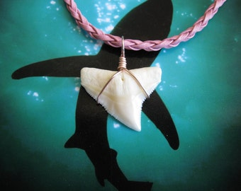 "Shark Tooth Necklace, Modern Day Bull Shark Tooth, ""Pink"" Braided Leather Cord 18"", Rose Gold color wire wrap"