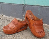 vintage woven leather clogs wedge heel- 70s