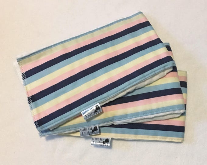 Set of 3 Pink, Blue, and Yellow Striped Burp Cloths