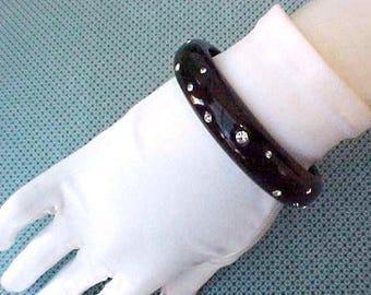 Lovely Black Celluloid Vintage Bangle Bracelet Set with Rhinestones