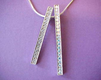 Pretty Sterling Silver Modernistic Italian Necklace with Rhinestone Dangles