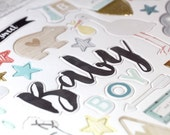 Crate Paper Little You -- Baby Boy -- 49 Gold Glitter Chipboard Stickers -- American Crafts -- 680388