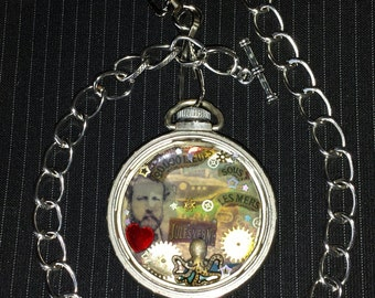 Jules Vern 20,000 Leagues Under the Sea SteamPunk Pocket Watch Pendant With Choice Of Necklace Chain or Watch Fob