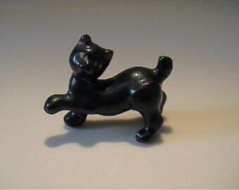 Vintage miniature 1950's pottery prancing black cat