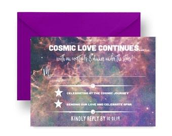 Cosmic Wedding Response Cards -- Invitation Insert -- Space Reception -- Casual Celebration -- Custom Printable or Printed Set