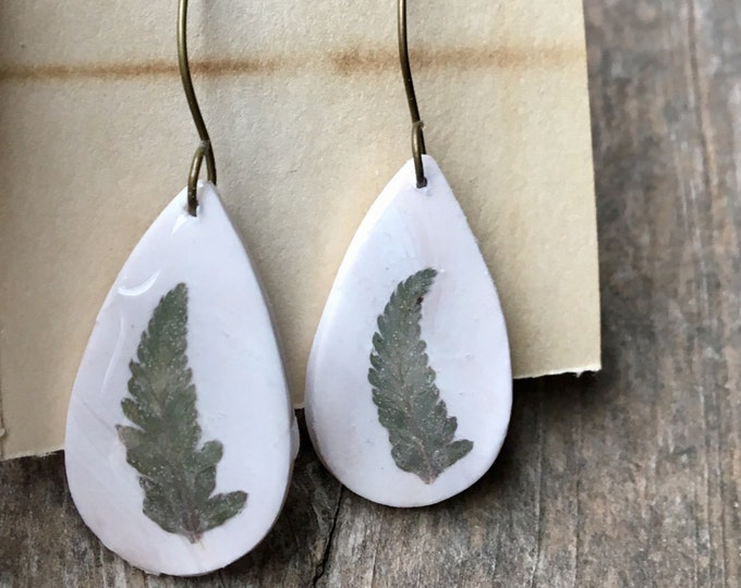 Japanese Painted Fern Teardrop Earrings Nature Jewelry