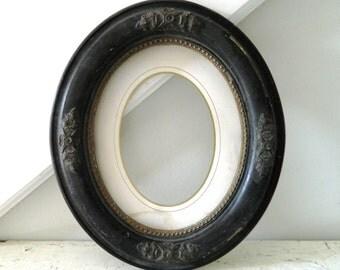 Vintage Black Frame Oval Wood Ornate