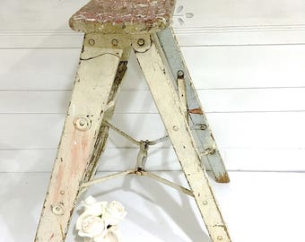 Vintage Wood Step Ladder Rustic Farmhouse Ladder Shabby Chic