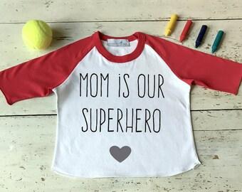 Mom is our Superhero-Mothers Day Shirt-Superhero Shirt-Mommy Shirt-I Love my Mom Shirt-Mamas Mini Shirt-Mothers Day Gift-Mother Daughter