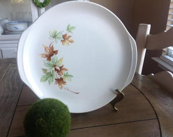 Beautiful Maple Leaf By Salem Platter with Subtle Side Handles Lovely Autumn Platter Cream with Brown, Orange and Green Leaves