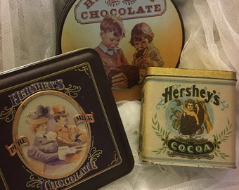 vintage Hershey's Chocolate Tin Boxes,  Hershey's Chocolate Candy Tin boxes,  Hershey's memorabilia  (3 tins)