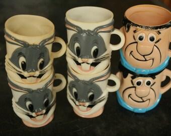 Set of Six Vintage Bugs Bunny Plastic Mug 1977 Warner Bros, Looney Tunes Child's Cup Rustic Novelty, Fred Flintstone