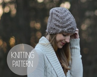 knitting pattern cabled hat toque pattern - the deer run beanie
