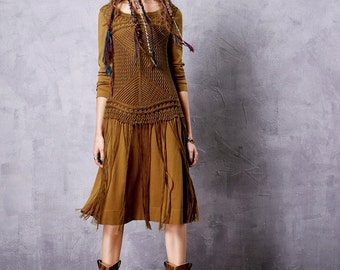 Women's Autumn New Solid Color Knitwear Patchwork Dress Fashion O-Neck Long Sleeve Knee-Length Tassel Hem Dress