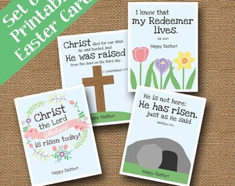 Kids Printable Christian Easter Cards | DIY PRINTABLE | Religious, Bible Easter Cards for Children | Sunday School Easter | Cross and Tomb