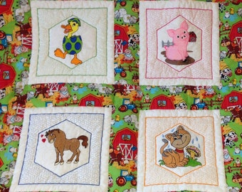 Farm animals Baby Quilt, Farm baby quilt, farm animals, embroidered baby quilt, flannel baby blanket,ready to ship
