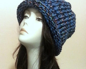 Chunky Loom Knitted Hat - Loom Slouch Knit Hat - Hand Knit Hat - Winter Hat - FREE UK DELIVERY