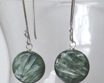 AAA Seraphinite Discs on Sterling Silver Long Earwires