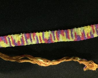 Yellow, Purple, Pink, and Green Tie-Dye Bracelet