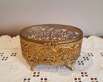 Vintage Gold Jewelry Casket Glass Antique  Jewelry Box Trinket Holder Gold Filigree Casket Box