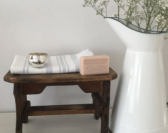 Vintage Wooden Stool - Small Vintage Bench - Bathroom Decor - Vintage Home Decor - Antique Wooden Stool - Vintage Display