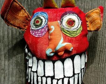 Roy, the little red gremlin handmade art doll