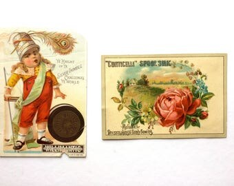 Victorian Trade Cards, Willimantic Thread and Corticelli Spool Silk, Antique Advertising Card, Willimantic Spool Knight, Vintage Advertising