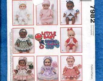 McCall's 7982 Little Baby Waterbabies Doll Clothes Pattern Size S..M..L inch Dolls