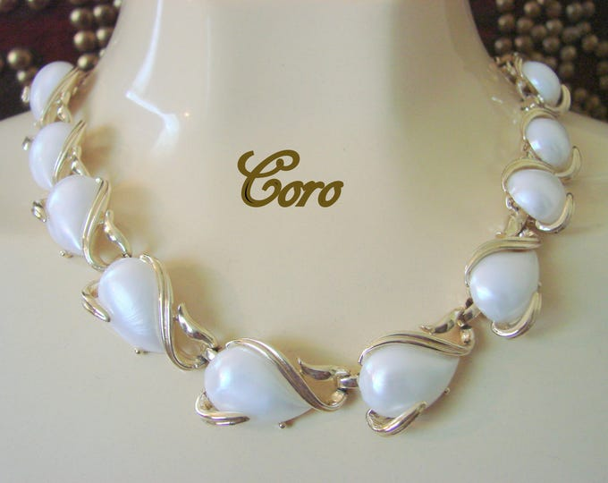 Classy Vintage Designer Signed CORO Necklace / Large Faux Cabochon Pearls / Choker / Jewelry / Jewellery