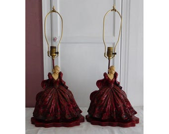 ONE Victorian Lady Lamp Hand Painted Plaster Garnet Red Gown Early to Mid 20th Century