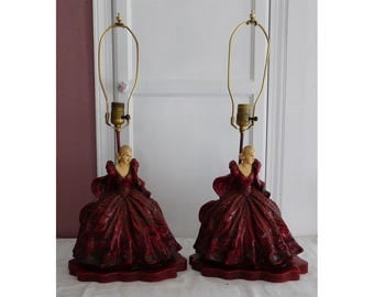 2 Victorian Lady Lamps Hand Painted Plaster Garnet Red Gowns Early to Mid 20th Century