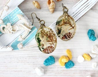 Marine Earrings - Beach Wedding Earrings - Seashell and Starfish - Beach Wedding