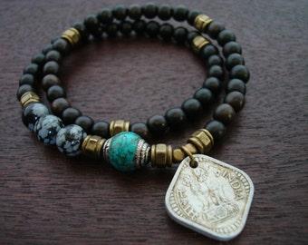 Tibetan Capped Turquoise Indian Coin Mala Bracelet // Obsidian 54 Bead Double Wrap Mala Bracelet // Yoga, Buddhist, Prayer Beads, Jewelry
