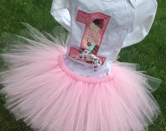 Birthday Girl Tutu Outfit little Cupcake Tutu Cupcake themed First Birthday Pink tutu