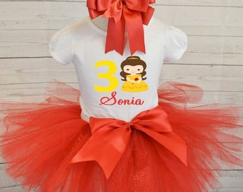 Belle birthday outfit, FREE SHIPPING, beauty and the beast outfit, birthday girl outfit, Belle,yellow and red,disney birthday outfit,red set