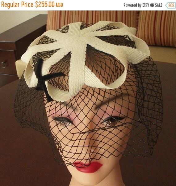 50% OFF Jan15-21 Vintage 1950s off white sisal straw hat with birdcage veil