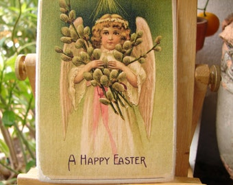 Victorian style, A Happy Easter, angel with pussy willows greeting image sealed onto wooden tag with string loop
