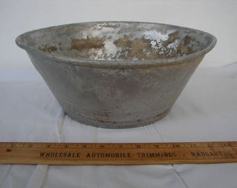 antique tin bowl,wash basin,very old & battered-great planter-Summer garden,balcony,patio