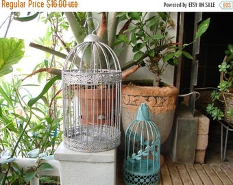 SALE 25% OFF set of 2 hanging bird cage style votive tealight holder lanterns, shabby turquoise, glittery silver