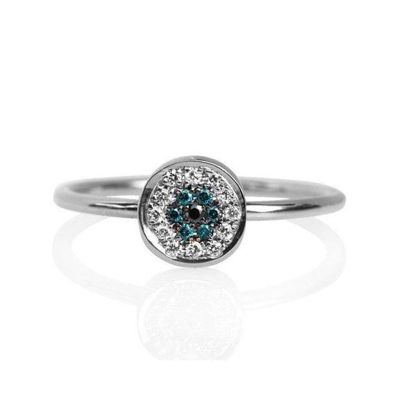 Evil Eye Diamond Ring - Mini 18k Solid Gold, Minimal diamond jewelry