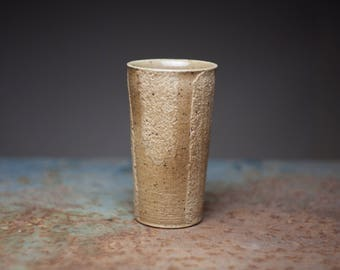 Wood fired tumbler, Wheel thrown ceramic tumbler, stoneware tall tumbler,wood fired pottery,beer tumbler, rough