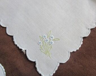 Vintage Dresser Scarf Set 5 Piece Light Blue Embroidered Floral Table Toppers Bedroom Linens