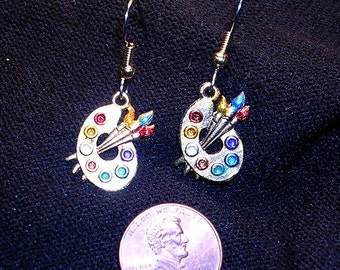 Artist Palette Earrings .