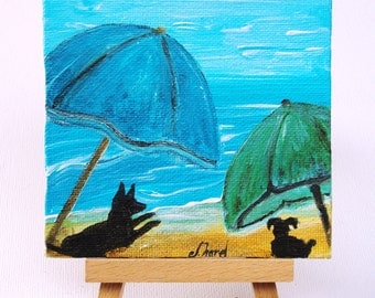 Adorable Mini Paintings, 4x4in, 10x10cm, Perfect unique presents, 14 euros, UDS15, Original Artwork from France, Affordable and Beautiful :)